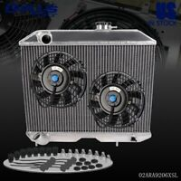2* 7'' Electric Fan + Aluminum Racing Radiator For JEEP WILLYS MB FORD GPW 41-52