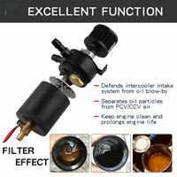 Oil Catch Can Tank 2-Port Baffled Reservoir with Drain Valve Breather Universal