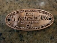 G503 jeep Willys - Overland emblem , brass with copper plate