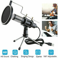 Condenser USB Microphone Tripod Stand for Game Chat Studio Recording Laptop PC