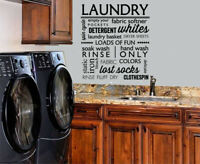 LAUNDRY ROOM COLLAGE VINYL WALL DECAL LETTERING QUOTE STICKER LAUNDRY DECOR