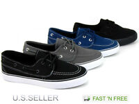 Men's Canvas Vulcanized Boat Casual Sneakers Shoes Tennis Lace Up Athletic Skate