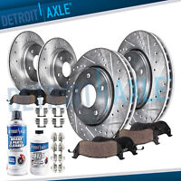 Front & Rear DRILLED Rotors + Ceramic Pads for 2004 2005 2006 2007 2008 ACURA TL