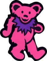 23091 Pink Bear with Purple Necklace Hippie 60s Dancing Animal Sticker / Decal