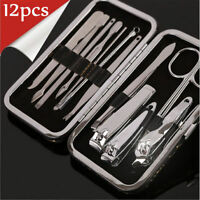 Nail Care 12Pcs Personal Manicure & Pedicure  Set Travel Grooming Kit Men/Women