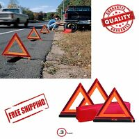 Early Warning Road Safety Triangle Kit Reflective 3 Pack Sign Emergency Signals