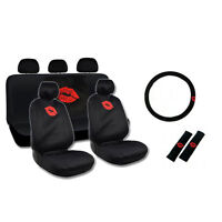New Red Lips Kiss Front & Back Car Seat Covers Steering Wheel Cover Full Set
