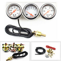 2'' 52mm Chrome Volt Water Oil Pressure Triple 3 Gauge Set Gauges Kit Universal