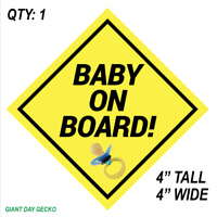 BABY ON BOARD Safety Decal visible sticker Car SUV Rear Window Child Parents NEW