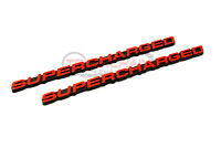 2 NEW CUSTOM RED BLACK CHEVY GMC FORD DODGE SUPERCHARGED EMBLEMS BADGES PAIR SET