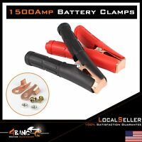 Pair Heavy Duty Truck 1500A Battery Clamp Connector Jump Electrical Red Black