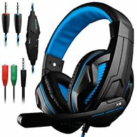 Gaming Headset with Mic 3.5mm PC Stereo Headphone for PS4 Xbox Laptop Desktop PC