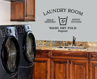 LAUNDRY ROOM HELP NEEDED STICKER WALL DECAL WORDS LETTERING QUOTE LAUNDRY DECOR