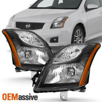 Fit 2010 2011 2012 Sentra SE-R / SR Headlights Headlamp Lights Black L+R