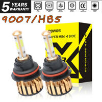 2000W 300000LM 4 Sides COB LED Headlight Lamp 9007 HB5 Hi/Low Beams Bulb 6500K