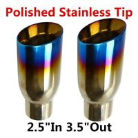 2PCs BLUE BURNT EXHAUST SLANT CUT POLISHED STAINLESS TIP 2.5