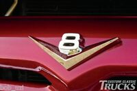V8 Vintage Retro Ford Chevy Dodge Cadillac GMC Ford Chrome Badge Emblem F100 150