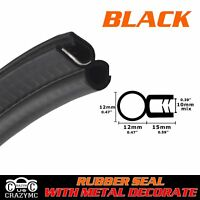 Black O U Channel Rubber Seal Strip 120