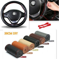 Genuine Leather 38cm DIY Car Steering Wheel Cover With Needles Thread Six Color