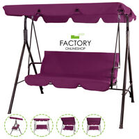 Outdoor Canopy Swing Patio Chair Lounge 3-Person Seats Hammock Porch Burgundy