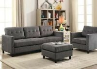 Contemporary Style 3p Sofa Set Living Room Furniture Gray Fabric Home Furnishing