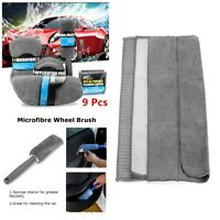 1 Set Gray Car Cleaning Kit Polish Applicator Pads Wash Towels Sponge Cleaner