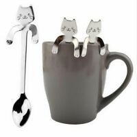 Stainless Steel Cute Cat Coffee Drink Spoon Tableware Kitchen Supplies Hanging A