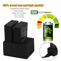 2 Pack Battery & Dual Battery Charger Suitable For GoPro Hero 3 3+ AHDBT-201 TN