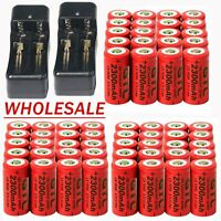 20-1000x 3.7V CR123A CR123 16340 2300mAh GTL Rechargeable Battery+Charger LOT O