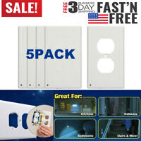 5 PCS Outlet Wall Plate Led Night Lights Cover Duplex With Ambient Light Sensor