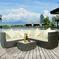 New 4X Sectional Rattan Wicker Sofa Set Patio Garden Cushioned Outdoor Furniture