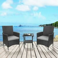 3Piece Outdoor Patio Mix Brown  Rattan Wicker Furniture Set Seat Cushioned Gray