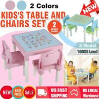 Kids Table & Chairs Set Toddler Activity Playroom Furniture Desktop With Letters