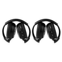 2 Pack Universal SUV Rear Entertainment Wireless Foldable Headphones Two Channel