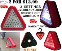 2 ROADSIDE EMERGENCY TRIANGLE SAFETY LIGHTS RED FLASHING SUPER BRIGHT MAGNETIC