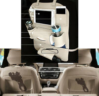 Beige Car Seat Back Bag Organizer Storage Cup iPad Phone Holder Pocket Leather