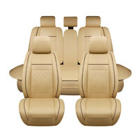 PU Leather Car Seat Cover Front & Rear Cushion Full Set W/Pillows Size M 5 Seats