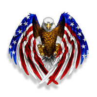 Bald Eagle USA American Flag Sticker Car Truck Laptop Window Decal Bumper Cooler