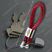Chevrolet Braided Red Leather Strap Alloy Key Chain Ring Car Key Fob Keychain