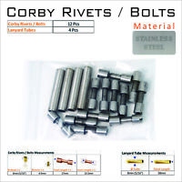 Knife Handle Hardware 12 Steel Corby Rivets 4 Lanyard Tubes Knife Making Supply