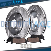Front Drilled & Slotted Brake Rotors + Ceramic Pads 2001-2005 BMW 325xi 325i