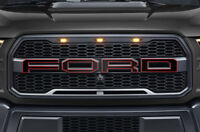 Ford F150 SVT Raptor Grille Insert Graphics Stickers Decals 2015-2018 RED OUTLN