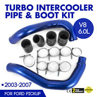 For 03-07 Ford Turbo Intercooler Pipe&Boot Kit CAC tubes 6.0L Powerstroke Blue
