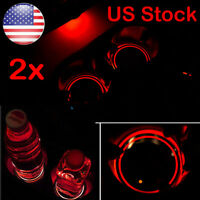 2x Solar Cup Pad Car Accessories LED Light Cover Interior Decoration Lights US