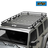 EAG 4 Door Roof Rack Cargo Basket W/ Wind Deflector Fit 07-18 Jeep Wrangler JK