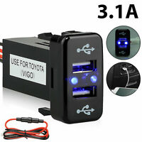 3.1A Car Charger Socket Dual 2 USB Port Charging Power Adapter Outlet for Toyota