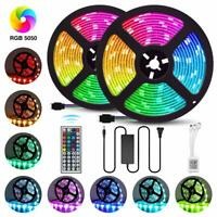 5M 10M 5050 RGB LED STRIP LIGHTS COLOUR CHANGING TAPE KITCHEN BEDROOM LIGHTING A