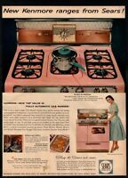 1957 KENMORE RANGES- Sears- Retro Pink Stove- Housewife-  Pot-  VINTAGE AD