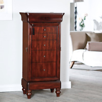 Rich Walnut Locking Jewelry Bedroom Closet Armoire Solid Wood Drawers Furniture