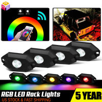 4 LED Rock Lights Wireless w/Bluetooth Music RGB Color Accent Under Car